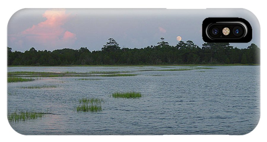 Marsh IPhone X Case featuring the photograph Moon Rising Over The Inlet by Suzanne Gaff