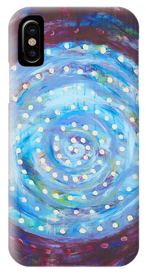 Abstract IPhone X Case featuring the painting Moon Spiral by Lucy H Pearce