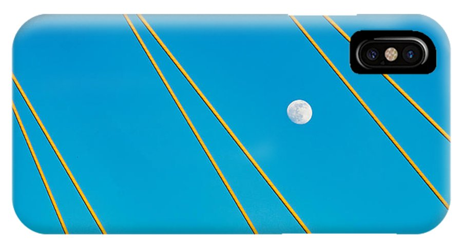 Dallas IPhone X Case featuring the photograph Moon Through The Wires by Dan Leffel