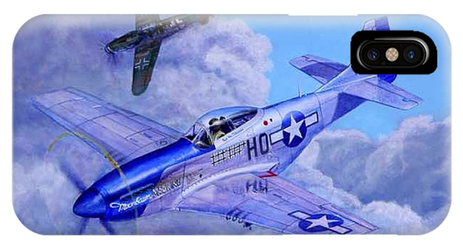 Capt Bill Wisner Shoots Down Two Bf-109s On November 2nd 1944 IPhone X / XS Case featuring the painting Moonbeam Mcswine by Scott Robertson