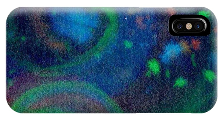 Dark Watercolor IPhone X Case featuring the painting Moonbow by Chandelle Hazen