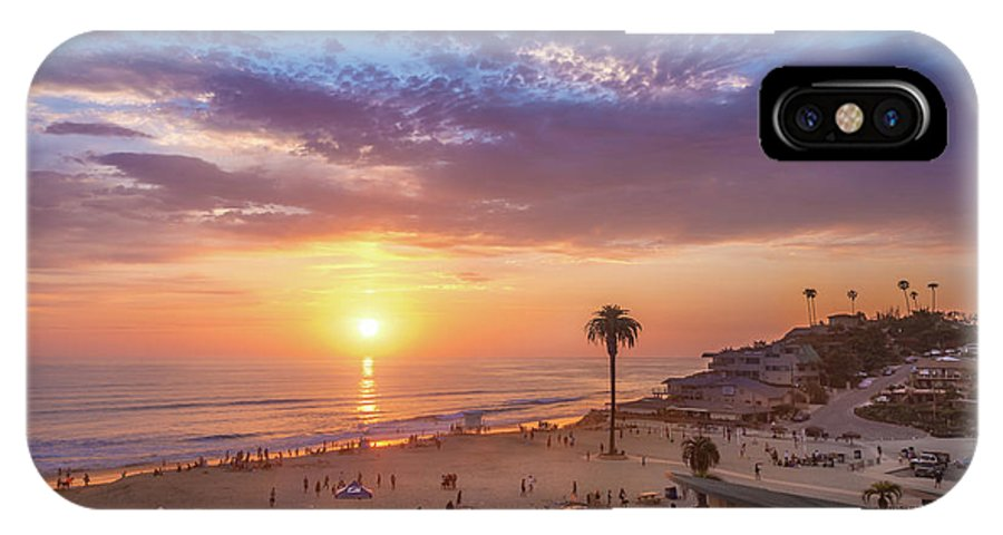 Moonlight Beach IPhone X Case featuring the photograph Moonlight Beach Sunset by Shuwen Wu