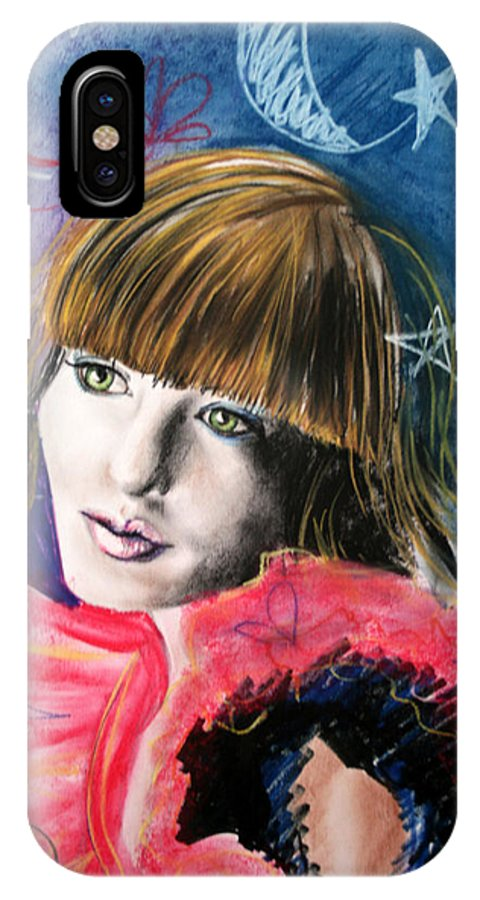 Portrait IPhone X Case featuring the drawing Moonlight Glam by Maryn Crawford