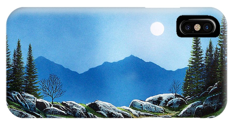 Landscape IPhone X Case featuring the painting Moonlight Hike by Frank Wilson