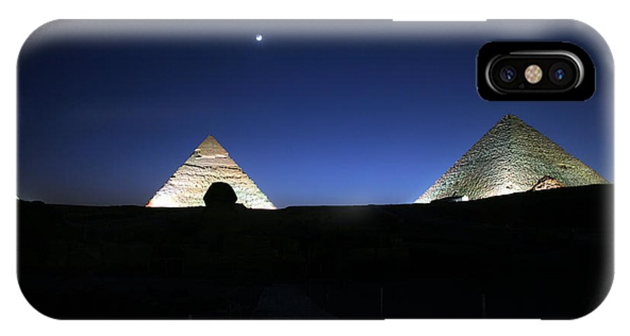 Moonlight IPhone X Case featuring the photograph Moonlight Over 3 Pyramids by Donna Corless
