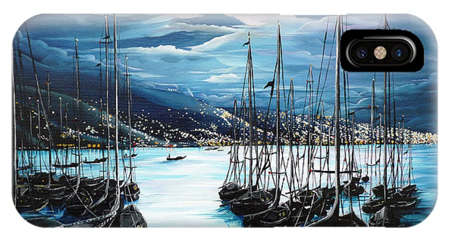 Ocean Painting  Caribbean Seascape Painting Moonlight Painting Yachts Painting Marina Moonlight Port Of Spain Trinidad And Tobago Painting Greeting Card Painting IPhone X Case featuring the painting Moonlight Over Port Of Spain by Karin Dawn Kelshall- Best
