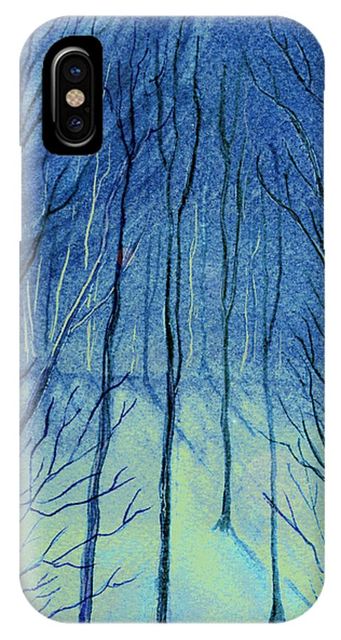 Watercolor IPhone X Case featuring the painting Moonlit In Blue by Brenda Owen