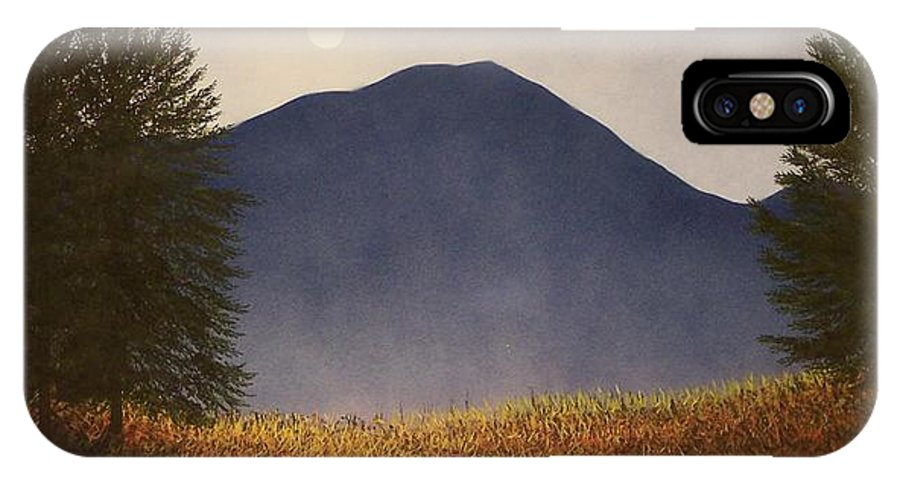 Mountains IPhone Case featuring the painting Moonlit Mountain Meadow by Frank Wilson
