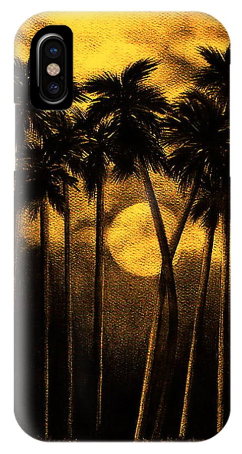 Moonlit Palm Trees In Yellow IPhone Case featuring the mixed media Moonlit Palm Trees In Yellow by Larry Lehman