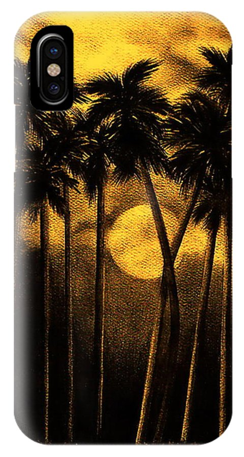 Moonlit Palm Trees In Yellow IPhone X Case featuring the mixed media Moonlit Palm Trees In Yellow by Larry Lehman