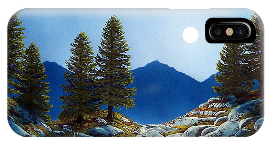 Landscape IPhone X Case featuring the painting Moonlit Trail by Frank Wilson