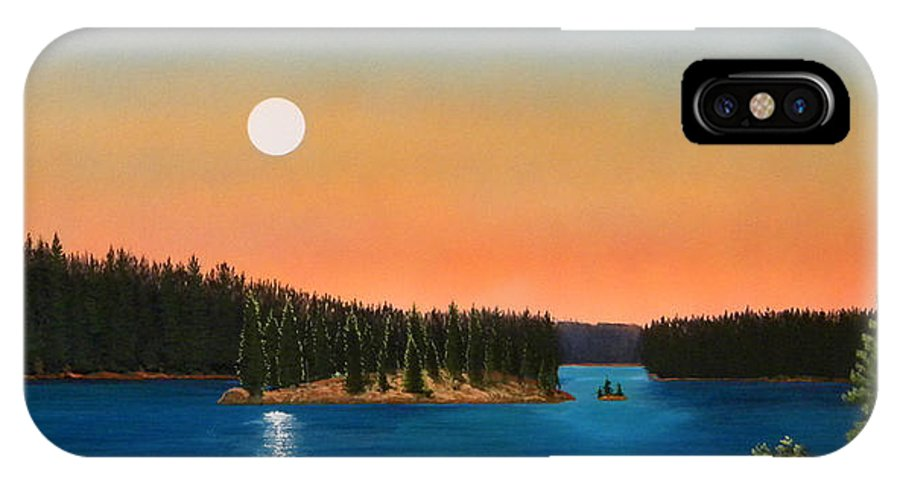 Landscape IPhone X Case featuring the painting Moonrise Over The Lake by Frank Wilson