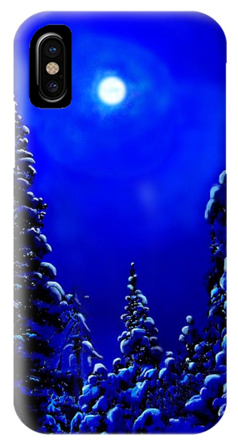 Scenic IPhone X Case featuring the digital art Moonshine On Snowy Pine by Greg Hammond