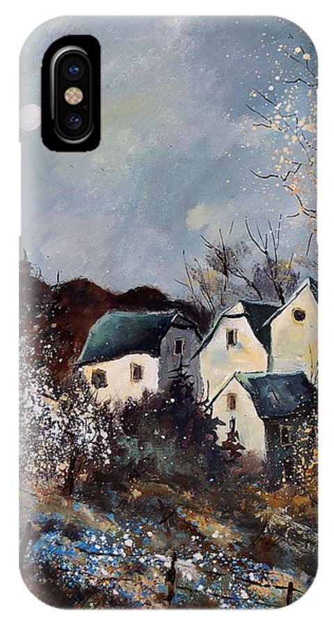 Village IPhone X Case featuring the painting Moonshine by Pol Ledent