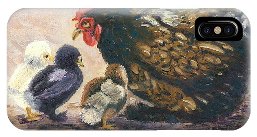 Chickens IPhone X Case featuring the painting More Of Life by Paula Emery