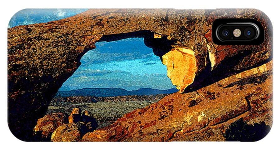 Landscape Arch IPhone X Case featuring the painting Morning At Landscape Arch by David Lee Thompson