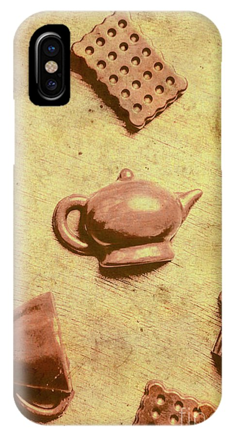 Coffee IPhone X Case featuring the photograph Morning Breakfast Chocolate Tea Set by Jorgo Photography - Wall Art Gallery
