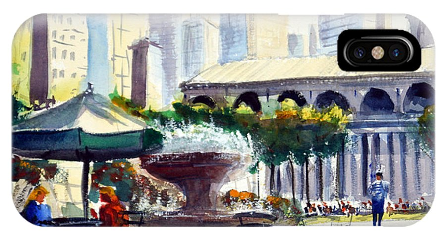 Bryant Park IPhone X Case featuring the painting Morning, Bryant Park by James Nyika