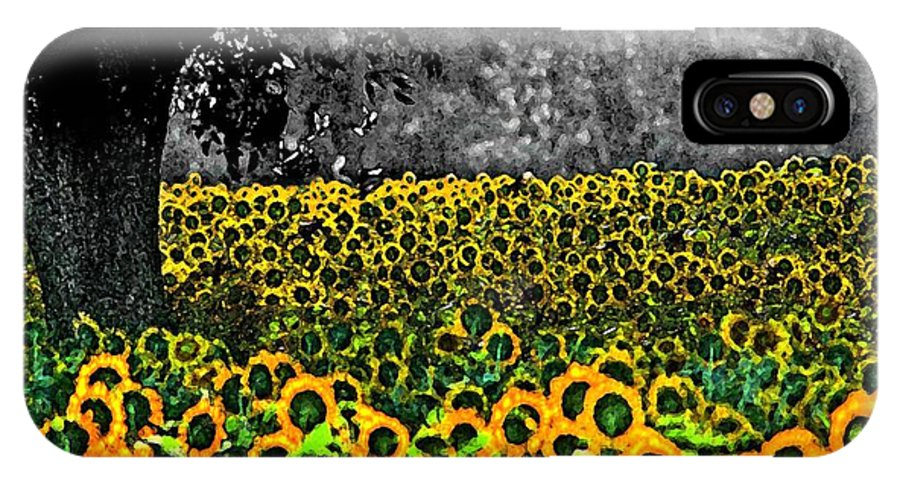 Sunflowers IPhone X Case featuring the painting Morning Doves And The Sunflower Field by Michael Thomas
