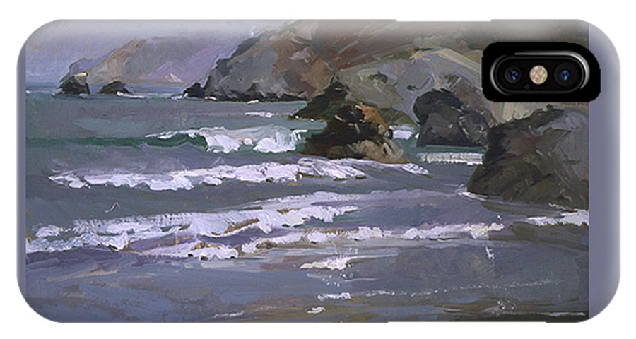 Seascape IPhone X Case featuring the painting Morning Fog Shark Harbor - Catalina Island by Betty Jean Billups