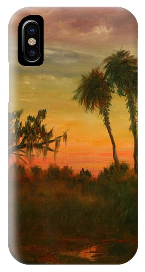 Palm Trees; Tropical; Marsh; Sunrise IPhone Case featuring the painting Morning Fog by Ben Kiger