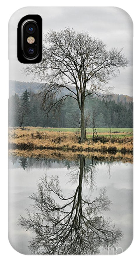 Reflections IPhone X Case featuring the photograph Morning Haze And Reflections by Deborah Benoit