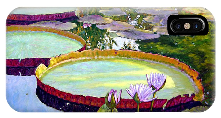 Garden Pond IPhone X Case featuring the painting Morning Highlights by John Lautermilch