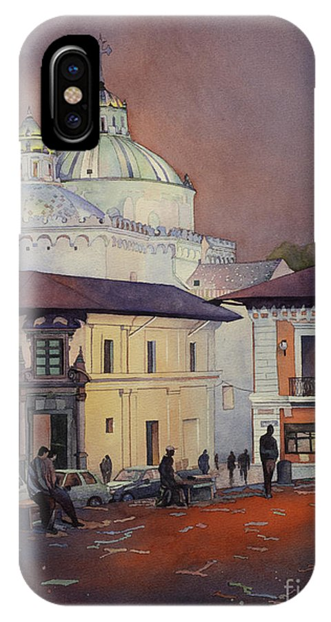 Basilica Quito IPhone X Case featuring the painting Morning In The Plaza- Quito, Ecuador by Ryan Fox