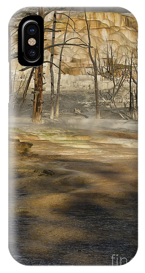 Yellowstone IPhone X Case featuring the photograph Morning Light On Mammoth Terrace by Sandra Bronstein