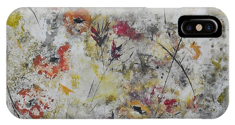 Abstract IPhone X Case featuring the painting Morning Mist by Ruth Palmer