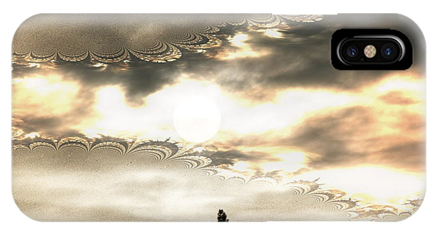 Moon Sky Trees Abstract Forest Wild Portal Clouds Gold Fractal IPhone X Case featuring the digital art Morning Moon by Andrea Lawrence