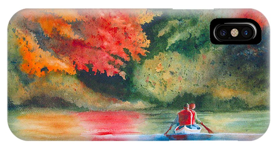 Lake IPhone X Case featuring the painting Morning On The Lake by Karen Stark