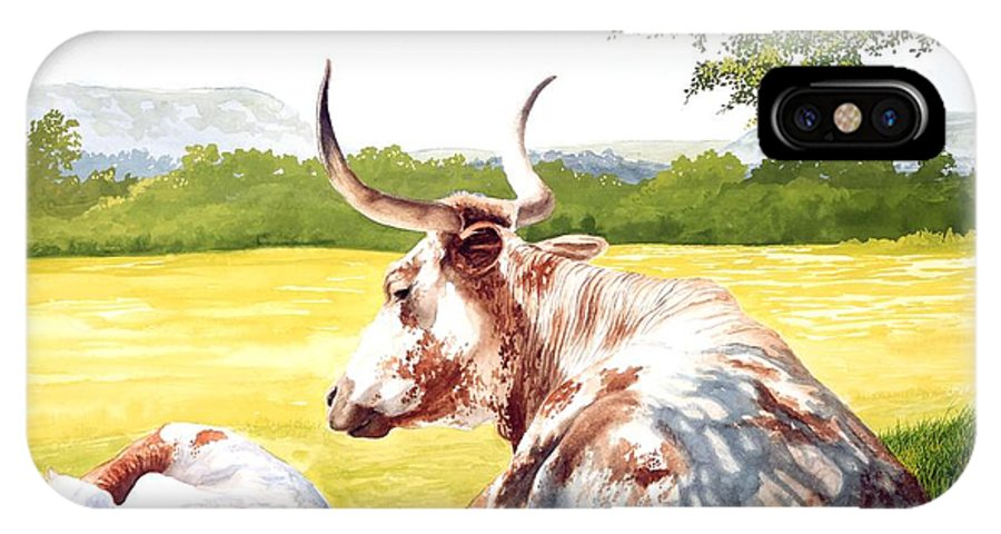 Longhorn IPhone Case featuring the painting Morning Solitude by Howard Dubois