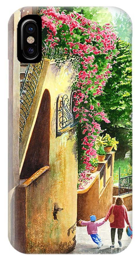 Italy IPhone X Case featuring the painting Morning Walk by Karen Fleschler