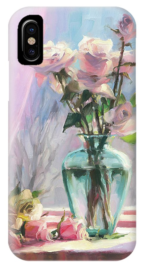 Flowers IPhone X Case featuring the painting Morning's Glory by Steve Henderson