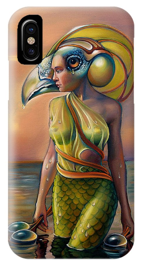 Mermaid IPhone X Case featuring the painting Morrigan's Mask by Patrick Anthony Pierson