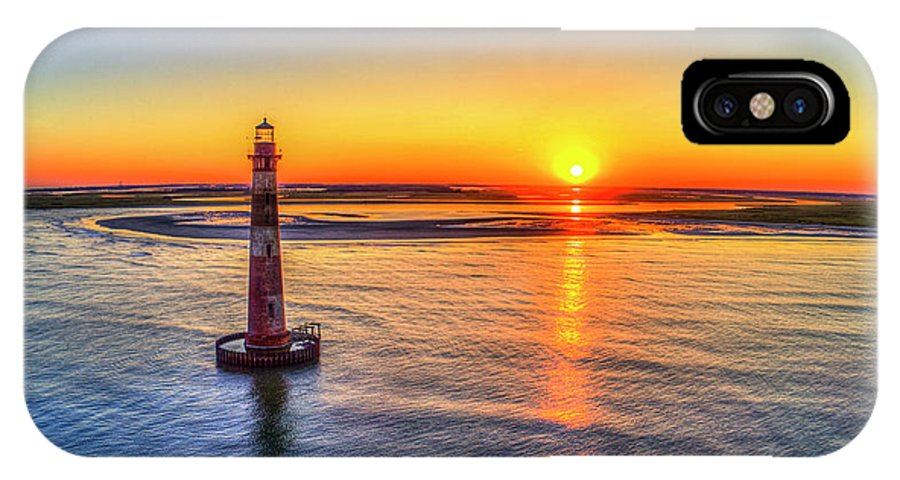 Sunset IPhone X Case featuring the photograph Morris Island Light -sunset by Robbie Bischoff