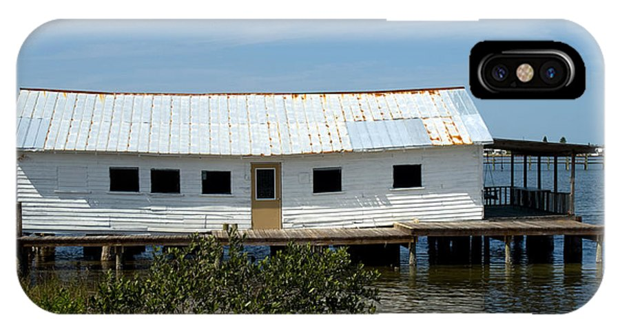 Florida; Oak; Hill; Mosquito; Lagoon; Old; Abandoned; Fish; House; Processing; Dock; Pier; Wharf; Bo IPhone X Case featuring the photograph Mosquito Lagoon Florida by Allan Hughes