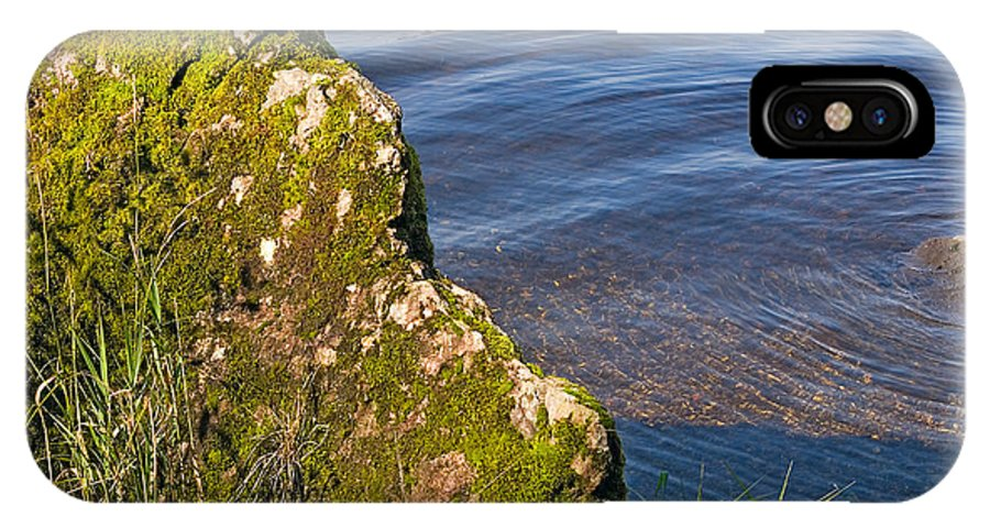 Landscape IPhone X Case featuring the photograph Moss Covered Rock And Ripples On The Water by Louise Heusinkveld