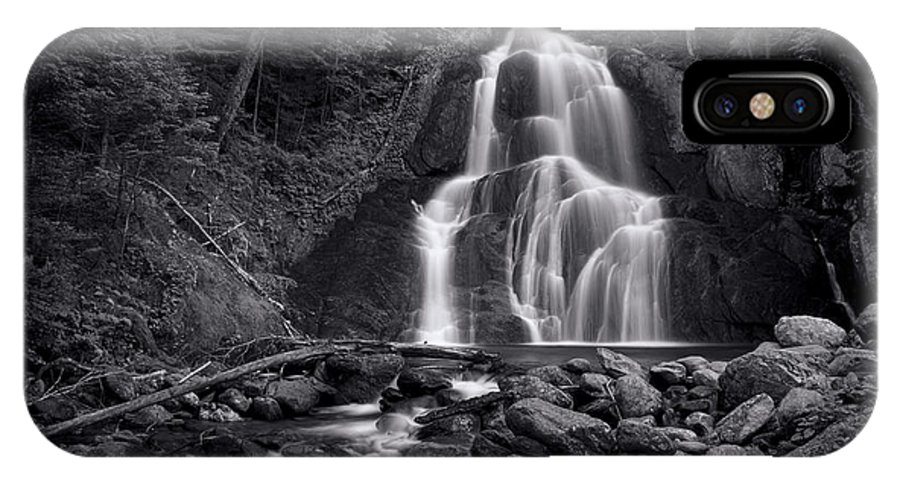 Vermont IPhone X Case featuring the photograph Moss Glen Falls - Monochrome by Stephen Stookey