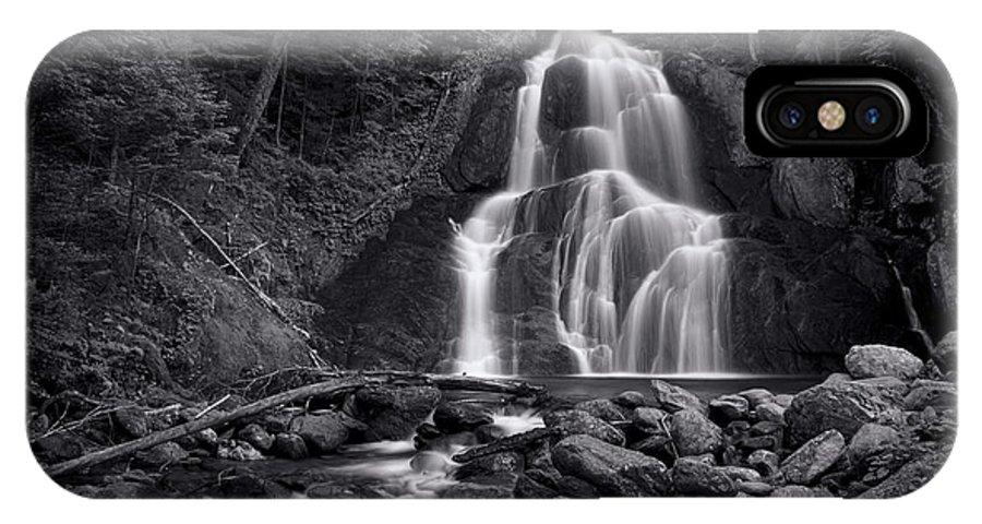 Moss Glen Falls IPhone X Case featuring the photograph Moss Glen Falls - Monochrome by Stephen Stookey
