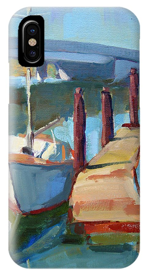 Boat IPhone X Case featuring the painting Moss Landing Morning by Sandra Smith-Dugan