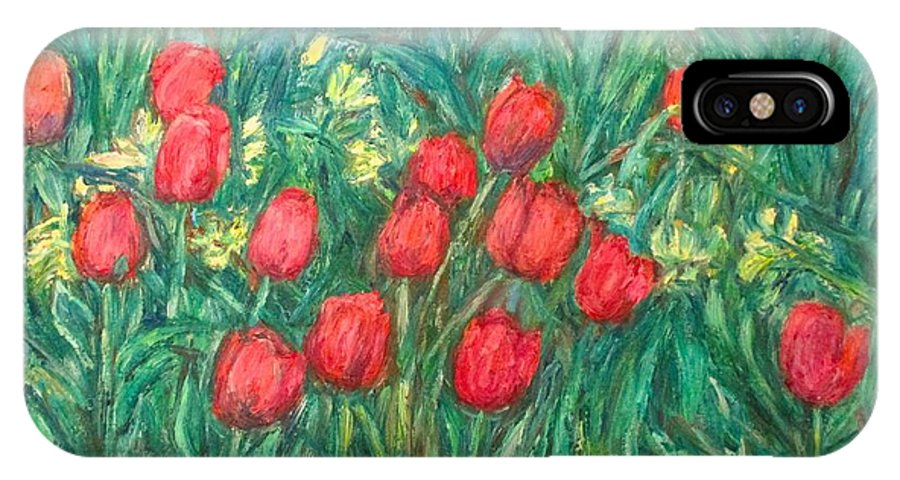 Kendall Kessler IPhone X Case featuring the painting Mostly Tulips by Kendall Kessler
