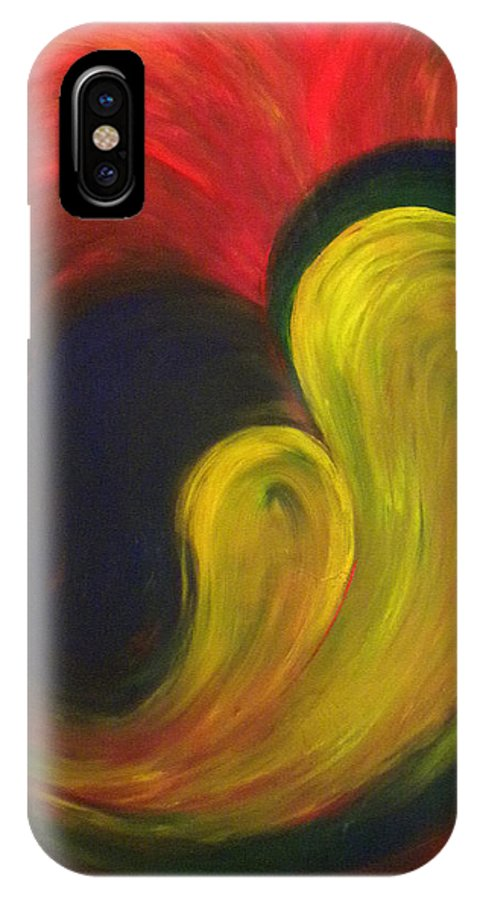Abstract IPhone X Case featuring the painting Mother And Baby by Fanny Diaz