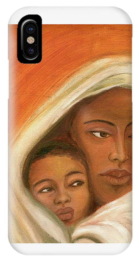 Figuretive Mother And Child IPhone Case featuring the painting Mother And Child by Asha Sudhaker Shenoy