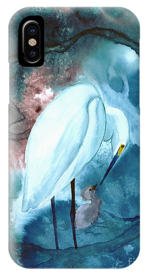 A Mother Egret With Her Chick- A Watercolor Painting IPhone X Case featuring the painting Mother And Child by Mui-Joo Wee