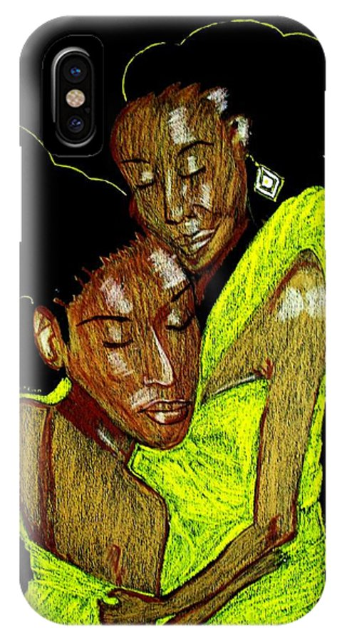 IPhone X Case featuring the mixed media Mother And Daughter by Lorna Lorraine