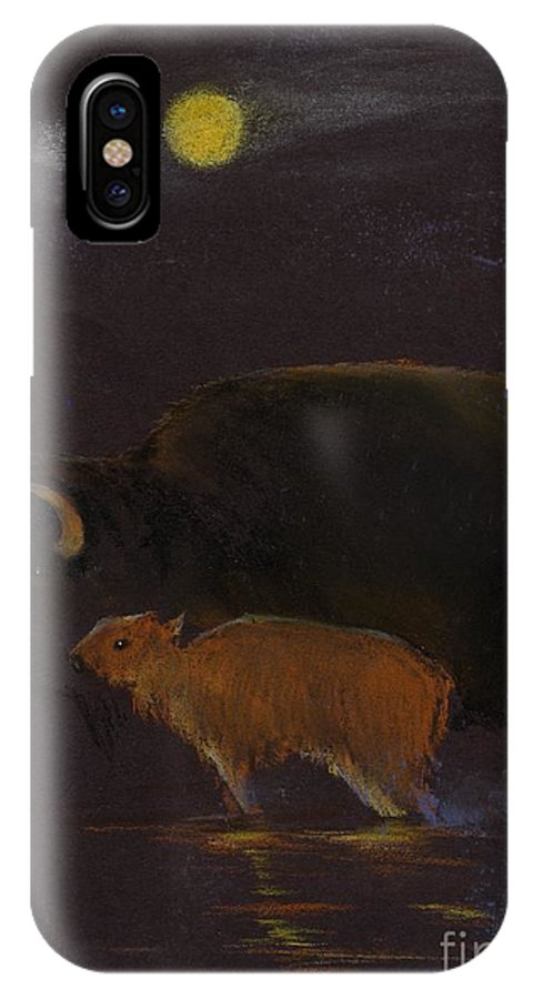 A Mother Bison And Calf Crossing The River Under Moon Light. This Is An Oil Pastel Painting. IPhone X / XS Case featuring the painting Mother Bison And Calf by Mui-Joo Wee