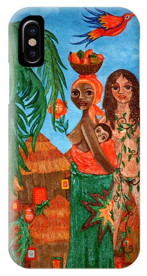 Mother IPhone Case featuring the painting Mother Black Mother White by Madalena Lobao-Tello