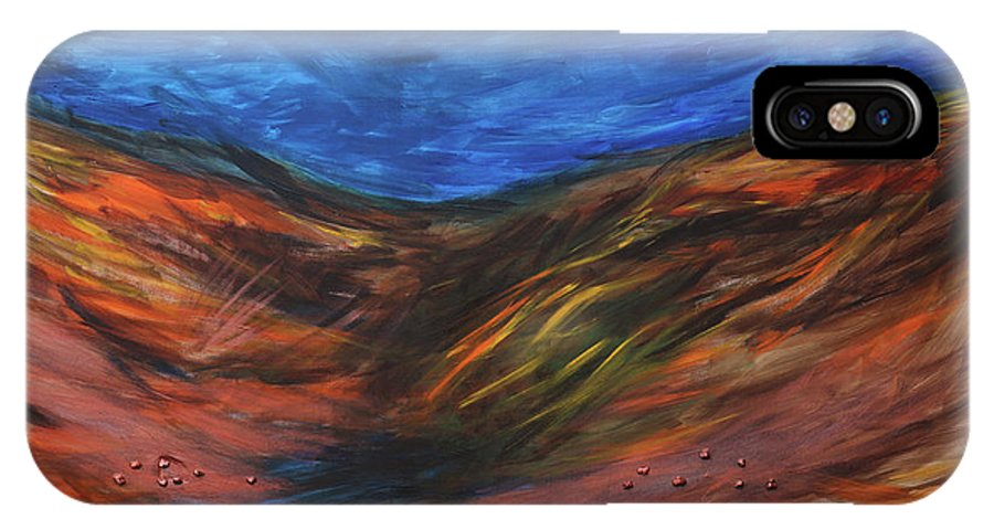 Mother Earth IPhone X / XS Case featuring the painting Mother Earth, Father Sky by Arna Vodenos